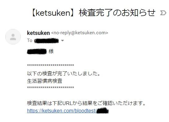 ketsuken血液検査結果メール